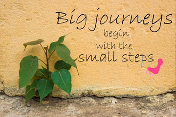 Word  Big journeys begin with the small steps.Inspirational motivational quote on old stone wall with tree for background