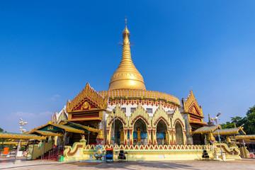 Golden pagoda and temple , Kaba aye Pagoda (Yangon, Myanmar) wit