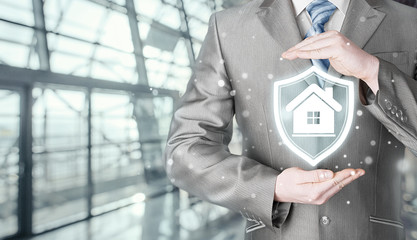 House protection and insurance. Home shield. Real estate safety. Terminal background.