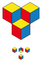 Find the fourth cube! Optical illusion with three cubes and the hidden fourth one in the upper half of the image. The solution is shown in the lower half. Geometrical illusion.