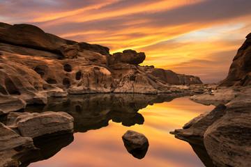 Beautiful sunset scene Unseen Thailand grand canyon sam pan bok
