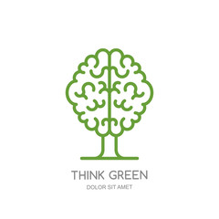 Brain tree outline isolated illustration. Vector logo, icon, emblem design. Think green, eco, save earth and environmental concept.