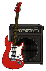 Red electric guitar and combo / Hand drawing, vector illustration