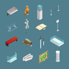 Museum Isometric Icons Set