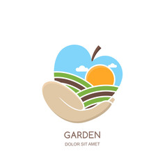 Fruit gardens and farming vector logo, label, emblem design. Fields landscape in apple shape. Hand holding apple. Concept for agriculture, harvesting, gardens, natural farm, organic products.
