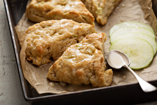 Yogurt apple scones with cider glaze