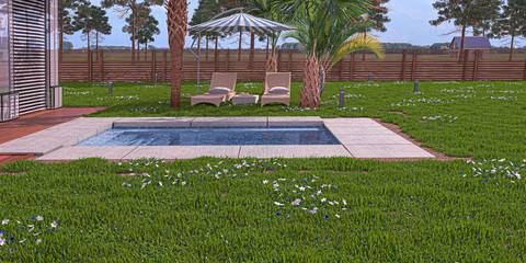 Giardino privato con piscina idromassoggio ed ombrelloni, lounge