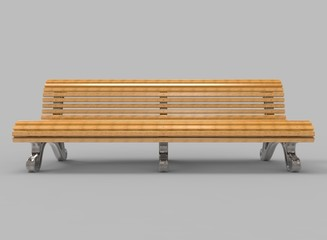 3d illustration of wooden bench. grey background isolated. icon for game web.