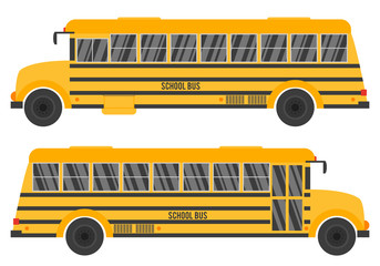 Vector illustration with yellow school bus