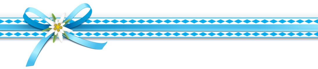 Oktoberfest - Schleifenband mit Rautenmuster und Edelweiß
