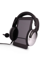 Black tablet PC and headphones (Clipping path)