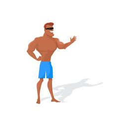 Muscular Man Character Vector in Flat Design.