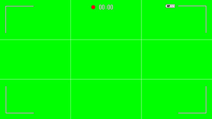 Camera viewfinder graphics isolated on green background - aspect ratio 16:9. Vector illustration.