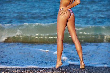 Sexy back of a beautiful woman in bikini on sea background. Sexy buttocks. Exotic country travel and rest concept.