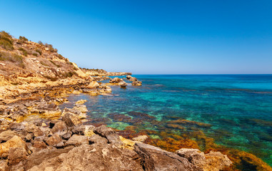 Beautiful panoramic sea view on Ayia Napa near of Cavo Greco, Cyprus island, Mediterranean Sea. Amazing blue green sea and sunny day.