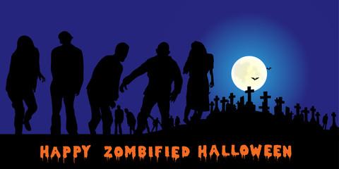 Halloween - Zombies auf einem Friedhof bei Vollmond