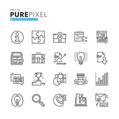 Set of modern thin line pixel perfect basic business icons. Premium quality icon collection for web design, mobile app, graphic design.