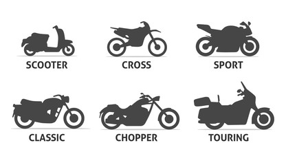 Motorcycle Type and Model Objects icons Set.