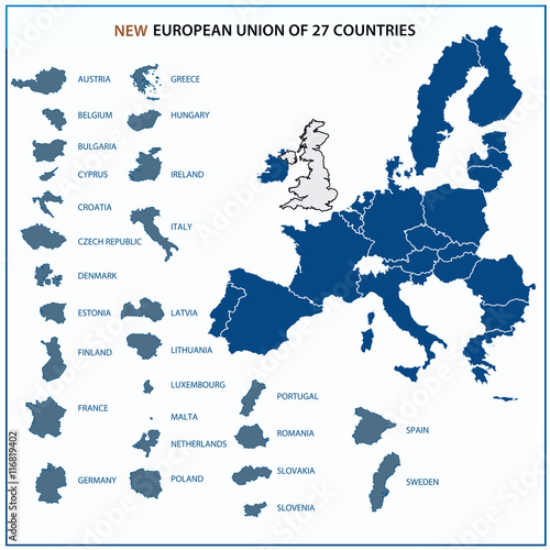 New European Union map with 27 states without United Kingdom