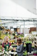 Florist talking to woman in garden centre