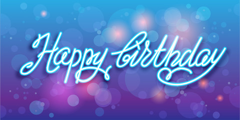 Happy birthday handwriting vector background