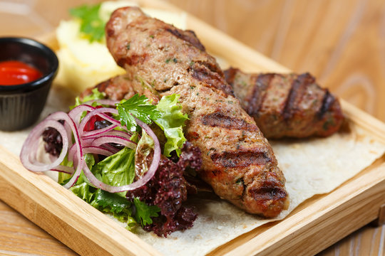 kebab with vegetables and lavash