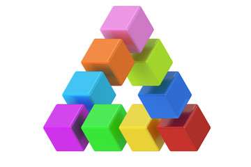 Impossible colored triangle optical illusion, 3D rendering