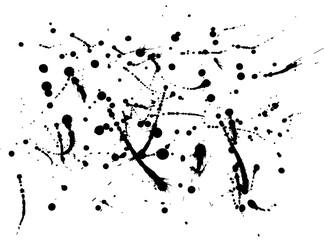 Black ink splatter background, isolated on white.