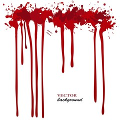 Vector red Ink stain, blots and splashes. Isolated paint drops, design elements.