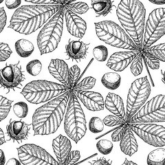 Seamless vector pattern with autumn leaves. Chestnut leaf and nu