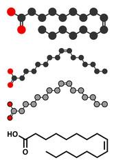 Palmitoleic acid (omega-7) fatty acid molecule.