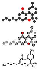 THC (delta-9-tetrahydrocannabinol, dronabinol) cannabis drug molecule