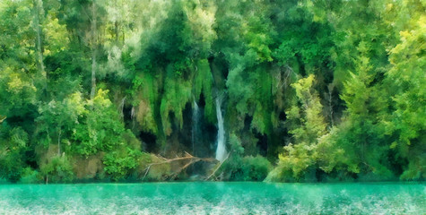 the magical world of emerald plants, lakes and waterfalls