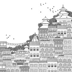 Kathmandu, Nepal - hand drawn black and white illustration of Kathmandu with space for text