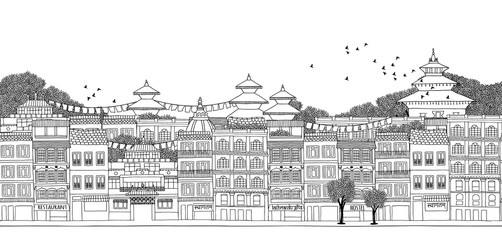 Kathmandu, Nepal - seamless banner of Kathmandu's skyline, hand drawn black and white illustration