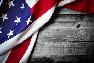 Flag of USA on grunge wood background