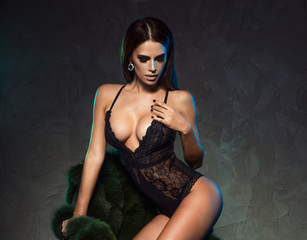 Sexy elegant brunette lady.