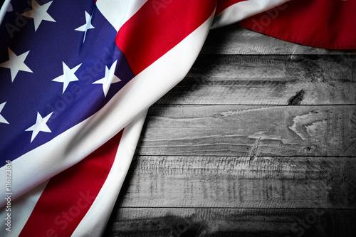 Flag of USA on grunge wood background
