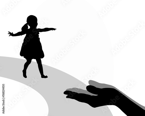 """Silhouette of a little girl running into mother's hands ..."