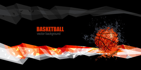 design for basketball banner, Polygonal white, orange, gray, grunge ball