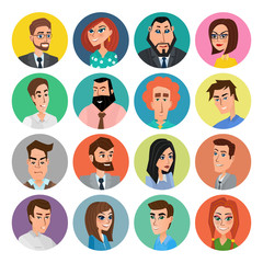 Cartoon male and female faces collection. Vector collection icon set of colorful people modern flat design. Avatars characters of men and women.