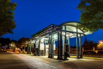 Aluminium Prints Train Station Light Rail stop taken at night for HDR