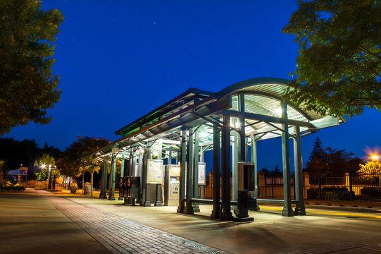 Light Rail stop taken at night for HDR