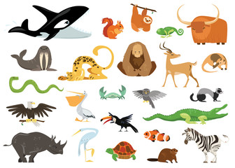 Set of cute cartoon animals, snakes, birds, fishes inhabiting planet earth. Cheerful crocodile, killer whale, gorilla icons isolated on white background.
