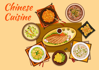 Chinese cuisine meat and hot soup dishes flat icon