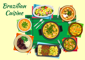 Brazilian cuisine dishes with thick soups, stews