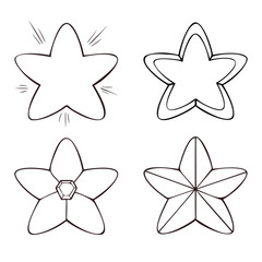 Set of four line stars in various designs, on white background.