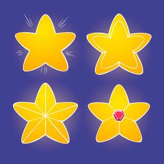 Cartoon yellow glossy stars on dark background, vector shiny icons