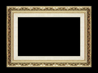 Antique picture golden frame isolated on black background, clipp