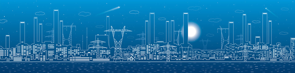 Power plant, electricity lines, energy and industrial panoramic, infrastructure, vector design art